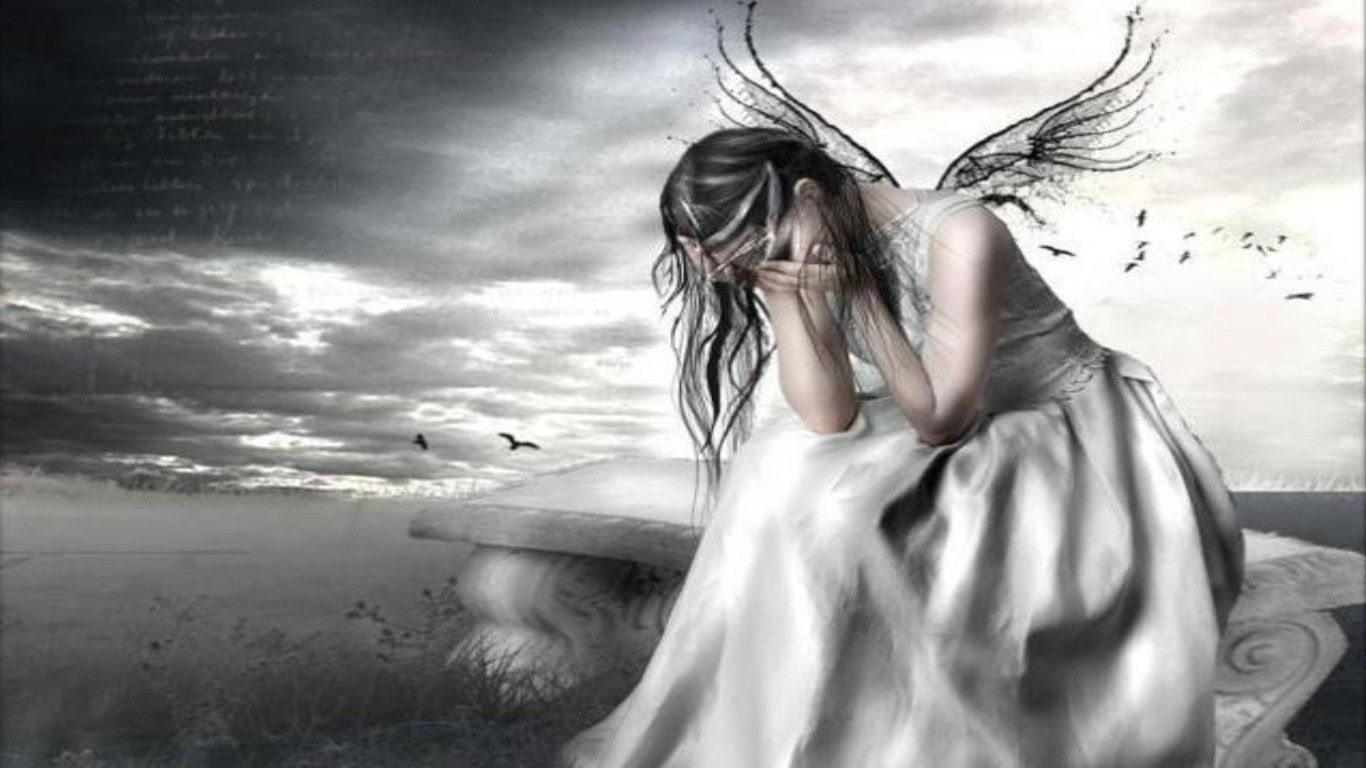 Pin on fairies unicorns - Sad angel wallpaper ...