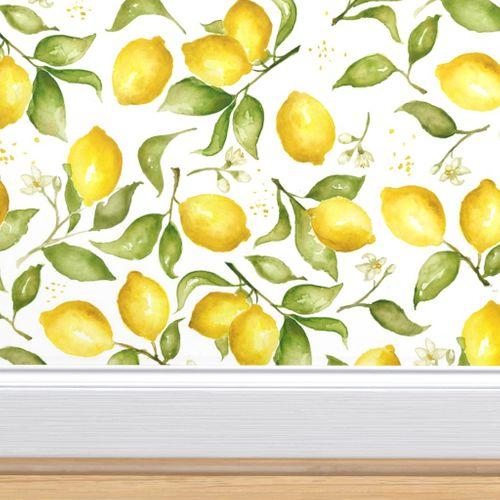 Lemon Blossoms Medium In 2020 Lemon Blossoms Pumpkin Wallpaper Spoonflower Wallpaper