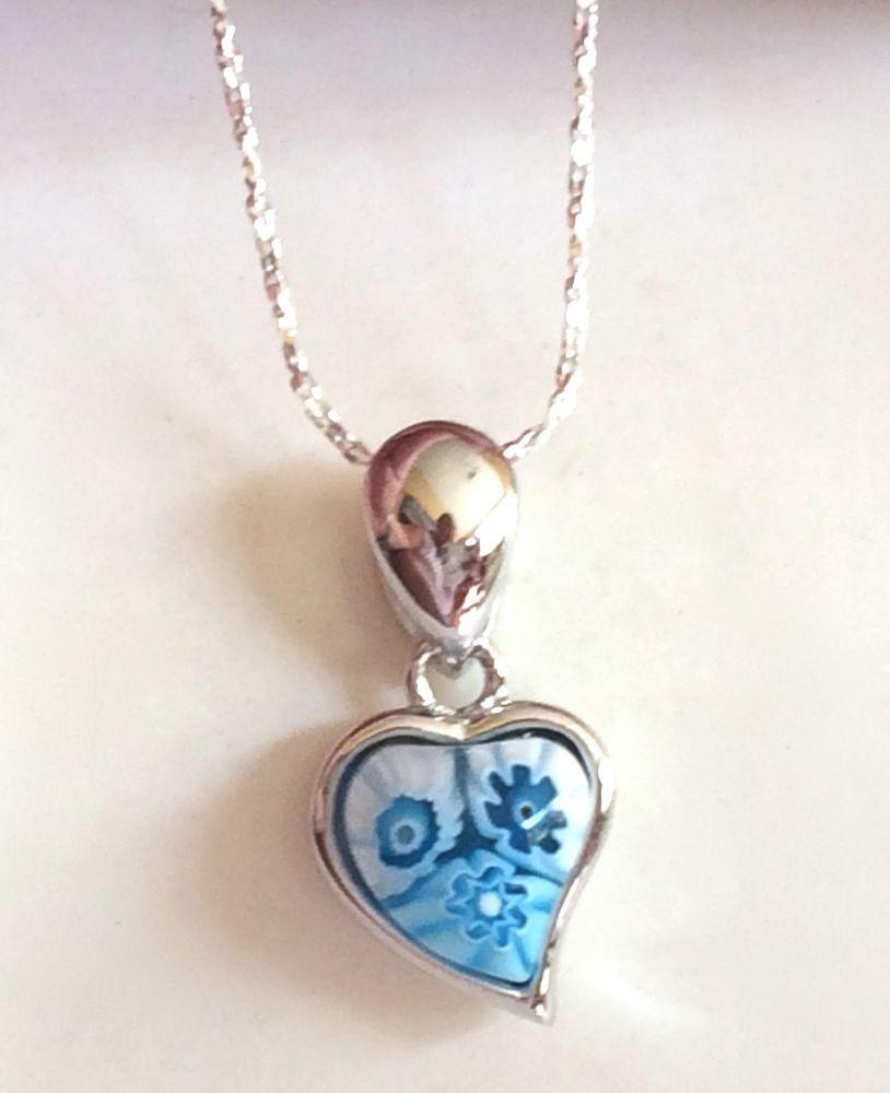 Sterling Silver Heart Murano Millefiori Necklace Venetian Glass Girls Alan K Alank Pendant Little Girl Jewelry Vintage Style Rings Heart Pendant Necklace