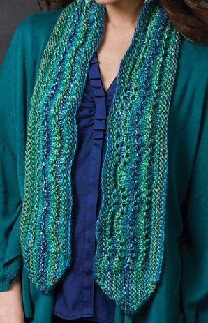 Free Knitting Pattern For Easy Ripple On The Side Scarf This Easy