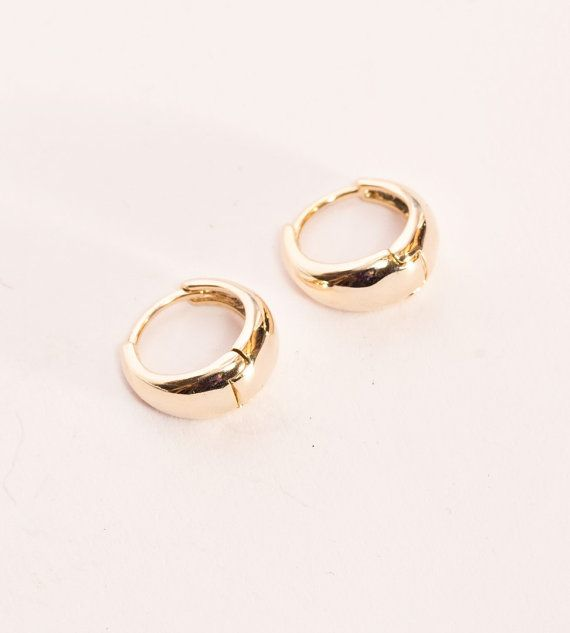 Gold Fat Hoop Earrings Small Hops Double Plated Chubby Gypsy