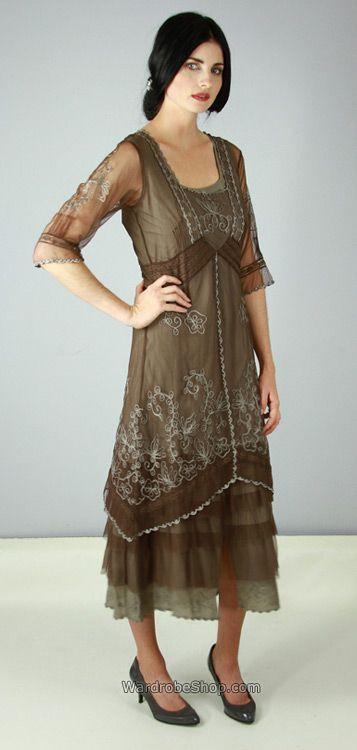 Brown Tea Length Dress