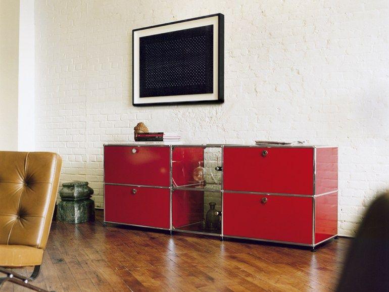 Anbau Modularer Wohnzimmerschrank Aus Metall USM HALLER SIDEBOARD FOR LIVING ROOM