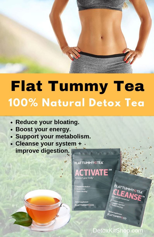 flat tummy tea - 100% natural detox tea helps reduce bloating and