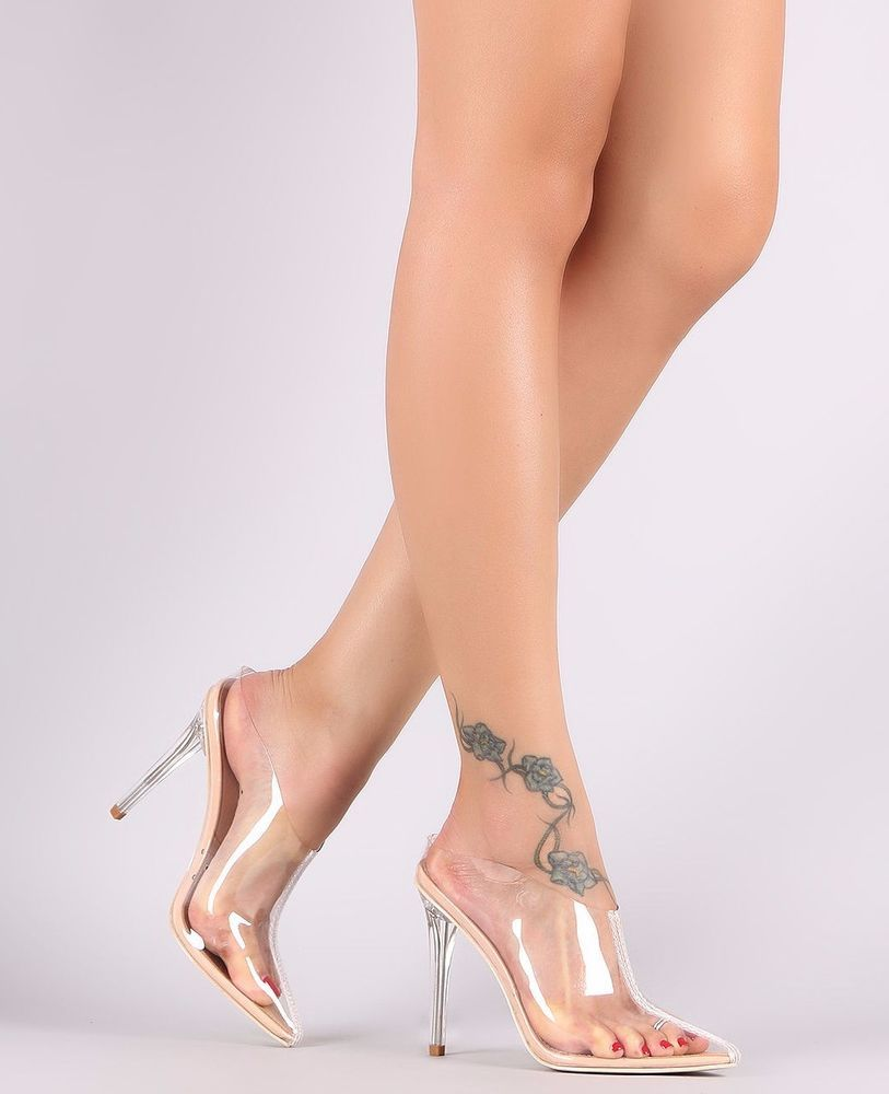 172fa7ba7d9be Lucite Pointy Toe Mule Stiletto Heel Clear Transparent Slide Closed ...
