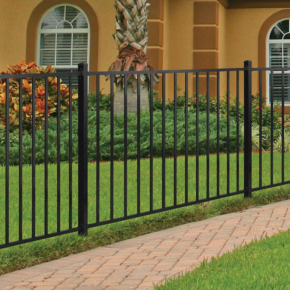 Tuffbilt Beechmont Standard Duty 4 Ft H X 6 Ft W Black Aluminum Pre Assembled Fence Panel 73008701 The Home Depot In 2020 Fence Panels Fence Design Front Yard Fence