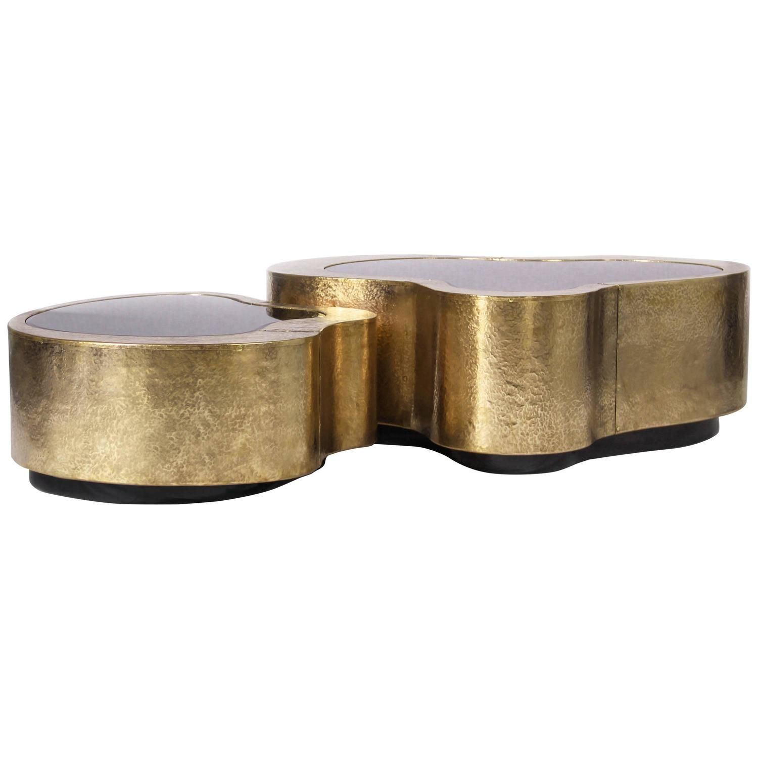 Set Of Two Curvilinear Hammered Brass, Glass Center Coffee Tables From  Europe