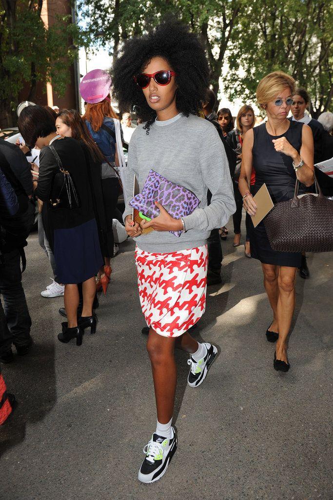 Obsessed with Julia Sarr-Jamois's Nike kicks ensemble at Milan Fashion Week.