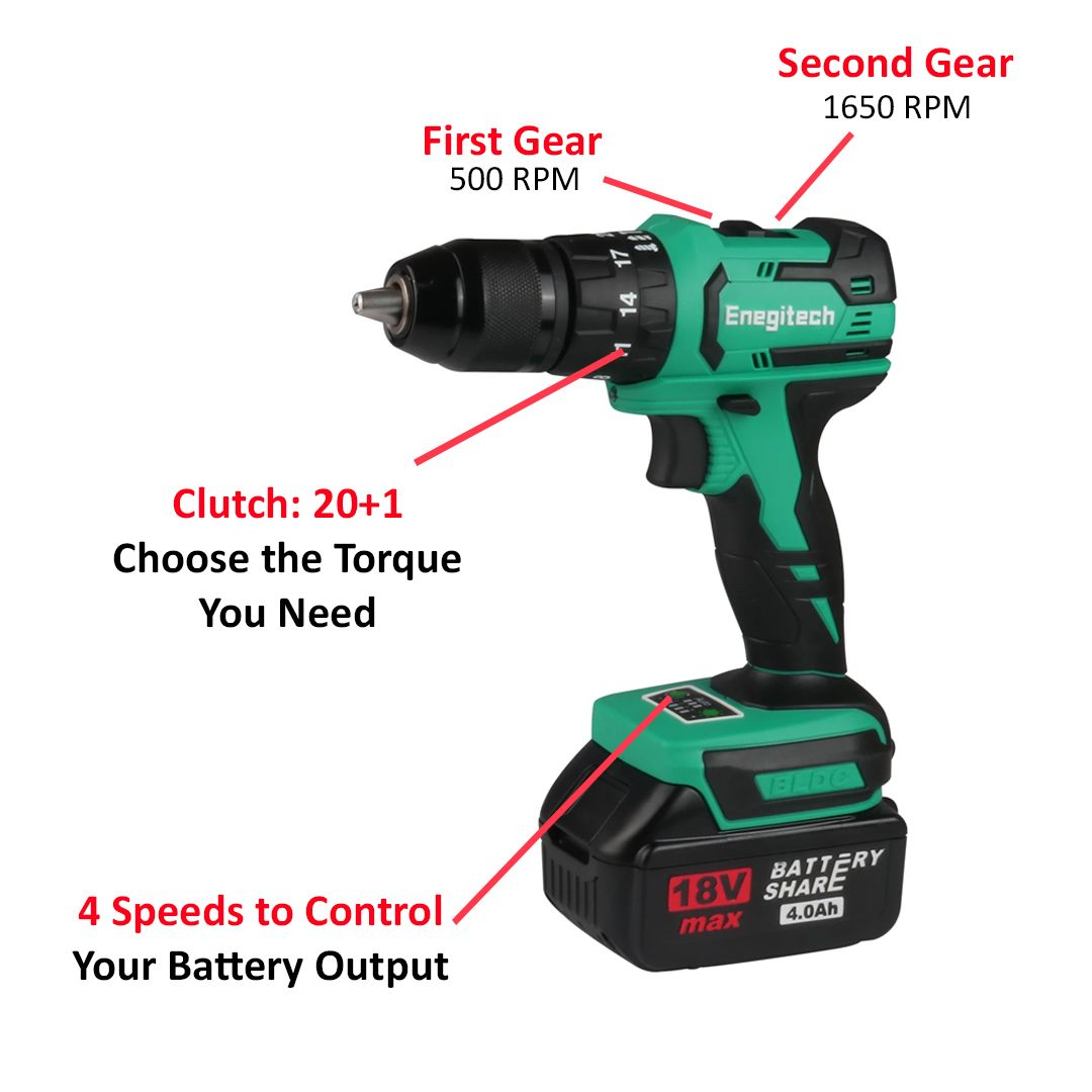 18V Compact Impact Drill Driver ET05 Cordless Electric