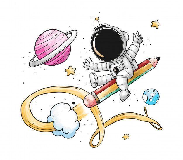 Astronaut Pencil Rocket Cartoon Premium Vector dibujo recetas ensalada rellenos dibujo recetas ensalada rellenos dessert recipes salad toast