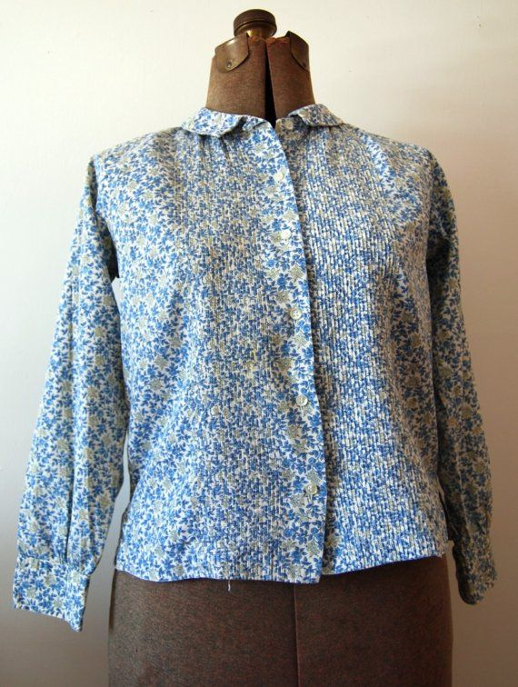 vintage 50s pintuck cotton floral blouse by