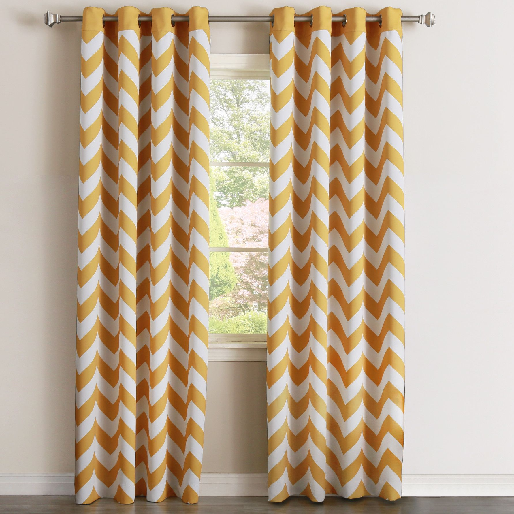 Alondra Chevron Room Darkening Grommet Curtain Panel Panel