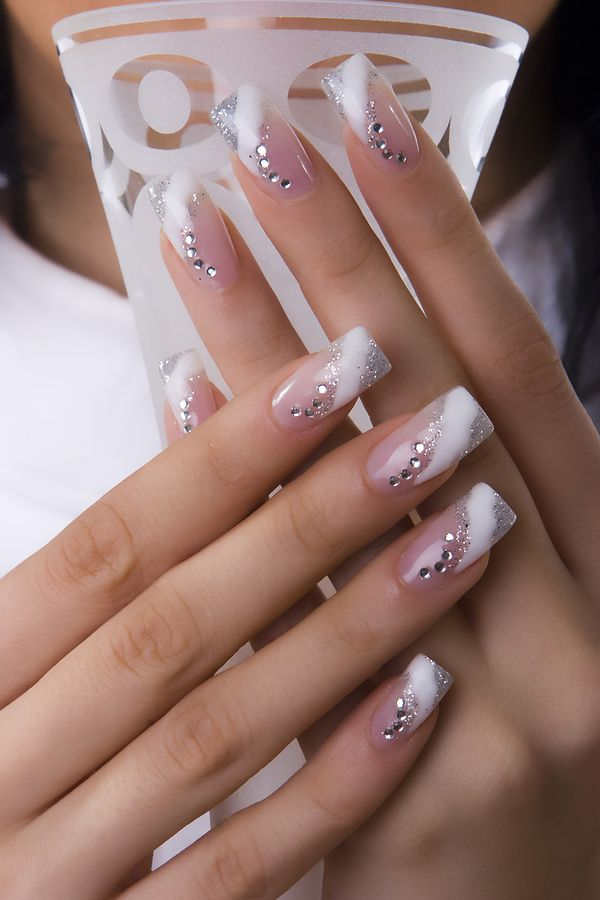 French Tip Nails with Diamonds in Curved and Striped Shape ...