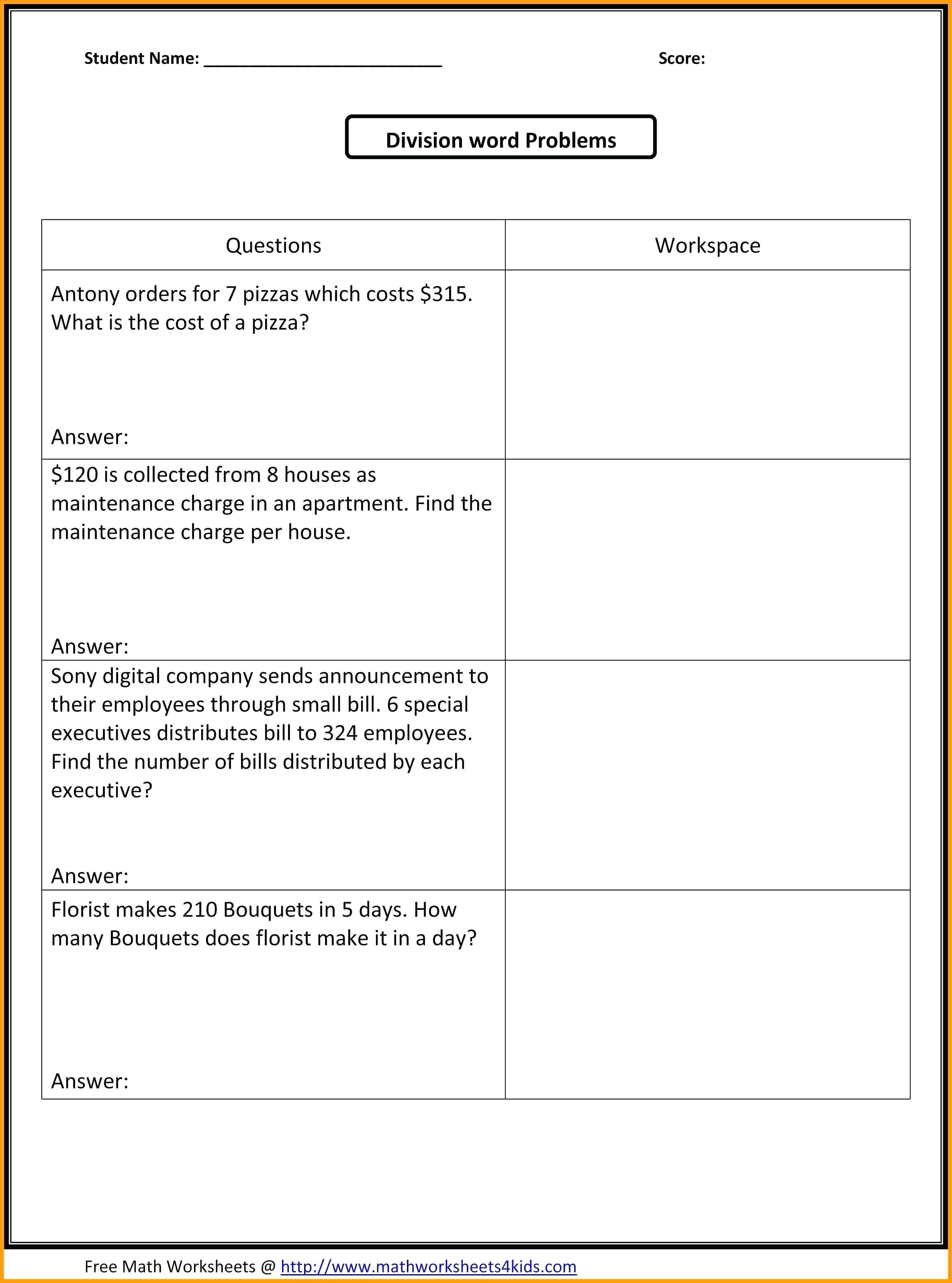 Third Grade Division Common Core Wroksheets