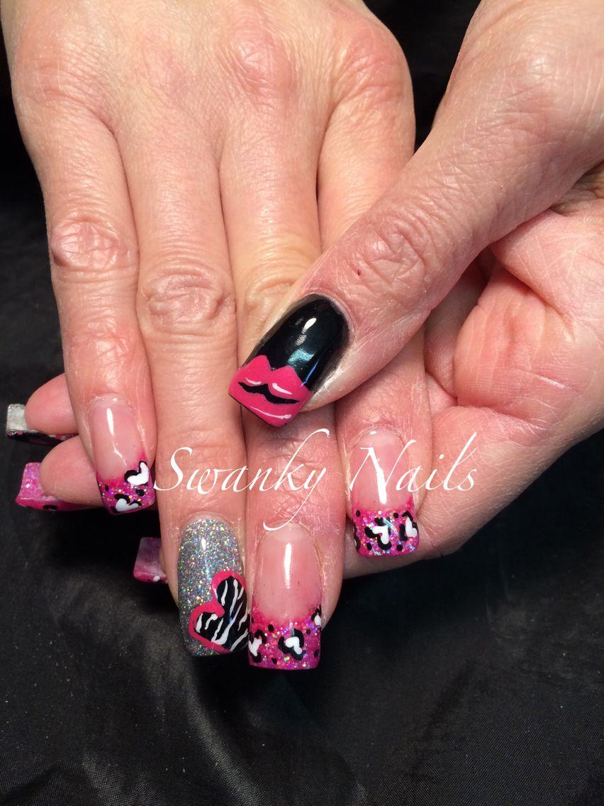 Valentine's Daythemed acrylic nails Valentines nails