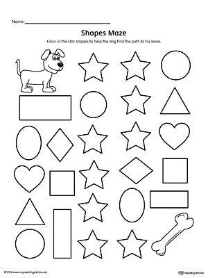 Star Shape Maze Printable Worksheet   Shapes Worksheets   Pinterest ...