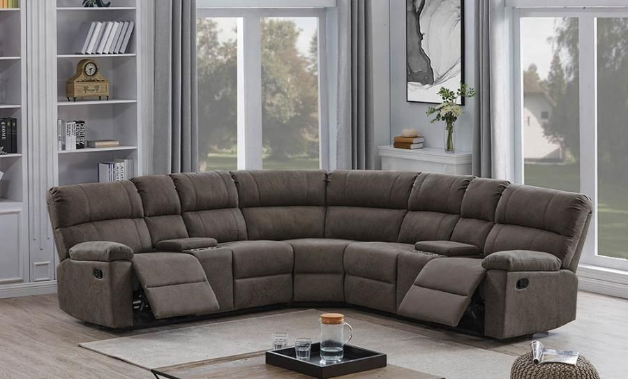 650250 3 Pc Latitude Run Morton Grey Faux Suede Sectional Sofa Set With Recliner Ends Sectional Sofa Small Sectional Sofa Sofa Set