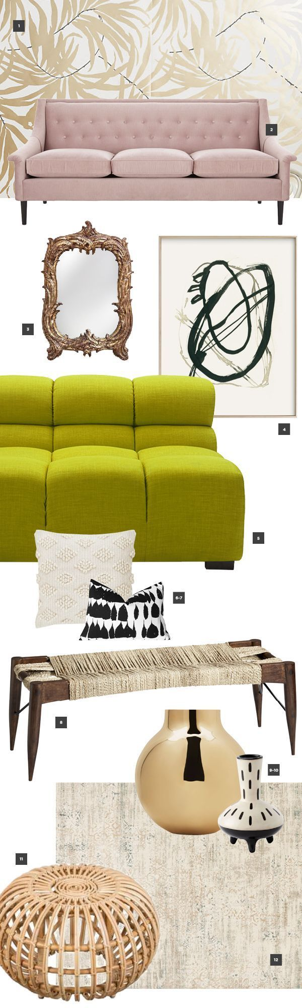 Pink and green living room moodboard with hits of gold | Funky Home ...