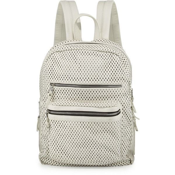 Ash Danica Large Perforated Leather Backpack ($143) ❤ liked on Polyvore featuring bags, backpacks, off white, backpack bags, leather daypack, leather backpack bag, flat backpack and leather bags