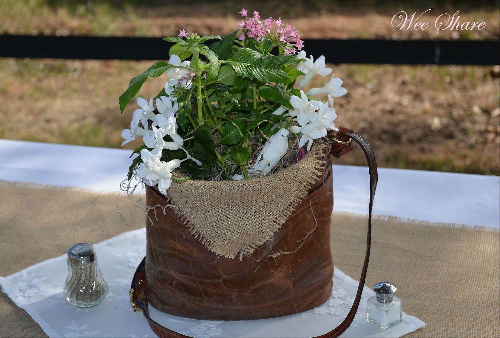 Leather Handbag Vase Centerpiece