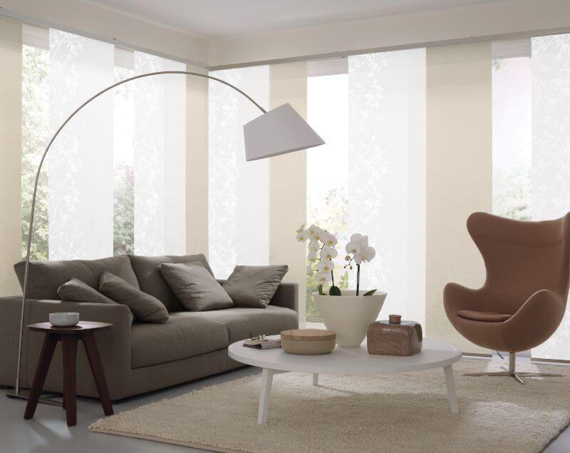 Tolle wohnzimmer ~ Wohnzimmer flaechenvorhang weiss schlicht ❤ vielfältige plissees