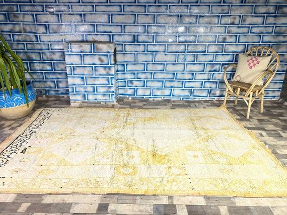 Morocco Vintage Rug Home living Home decor Antique rug Boujad Area carpet 6X9 7 FT