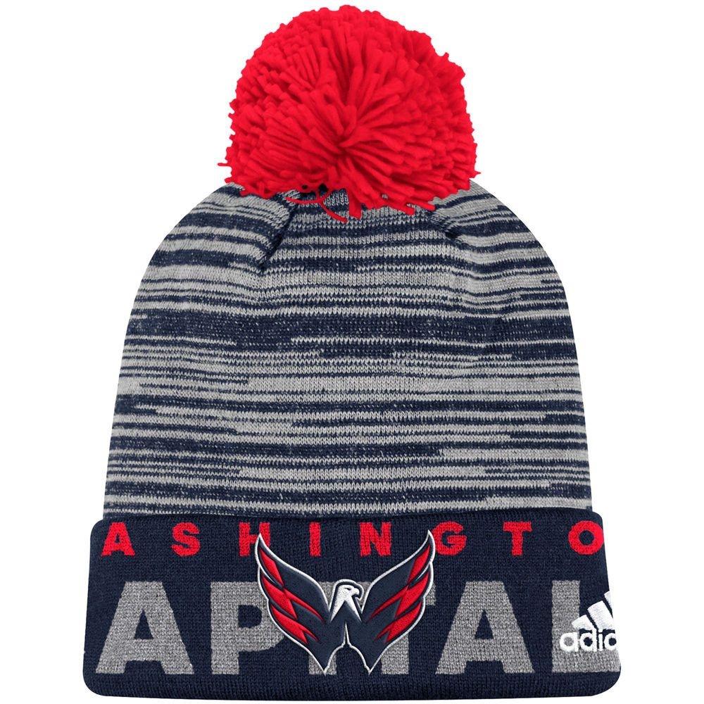 6c195a93c00 Men s Washington Capitals adidas Navy On Ice Cuffed Pom Knit Hat ...