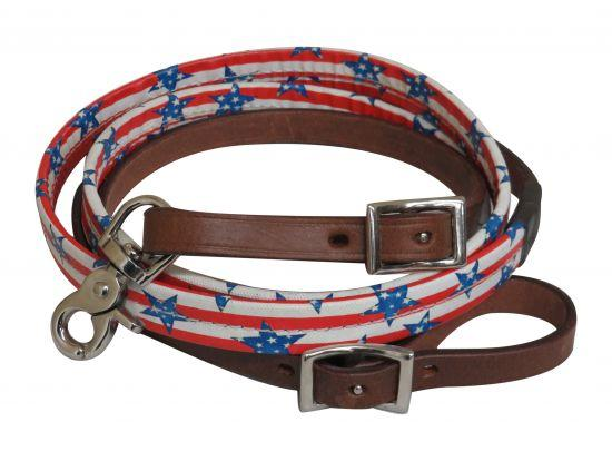 "Showman ® 5/8"" x 8ft Stars and stripes print leather reins"