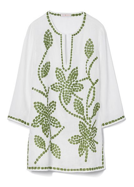 d32e355fc8f1 Tory Burch Embroidered Floral Linen Tunic