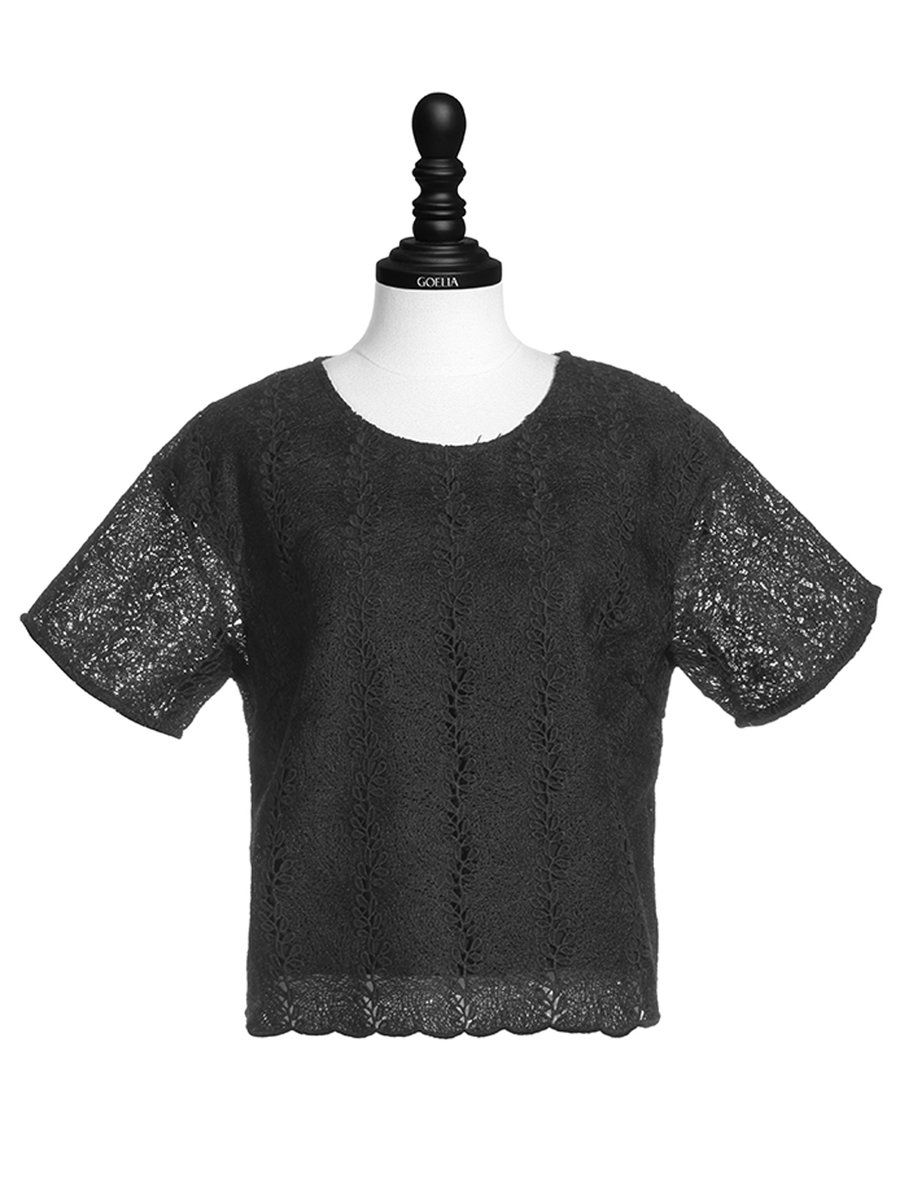 Shop Cropped Tops - Black Girly Guipure Lace Polyester Cropped Top online. Discover unique designers fashion at StyleWe.com.