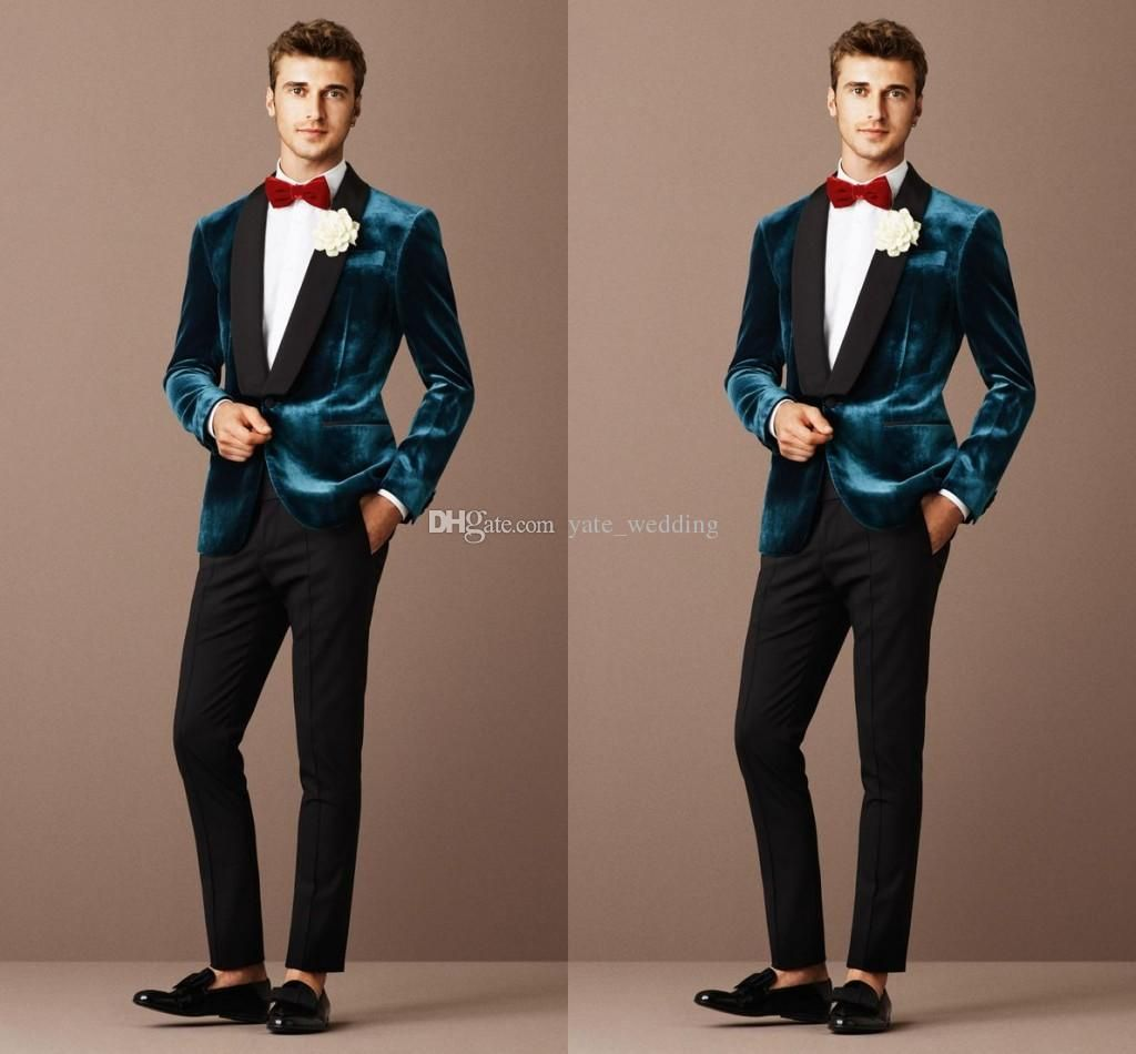 2016 Fashion Slit Fit Men Suits Tuxedos Velvet Black Green Shawl ...