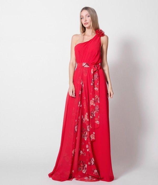 b051be0544b Maxi Φόρεμα με Έναν Ώμο - Κόκκινο | Φορέματα Nostress, 2019 | Formal ...