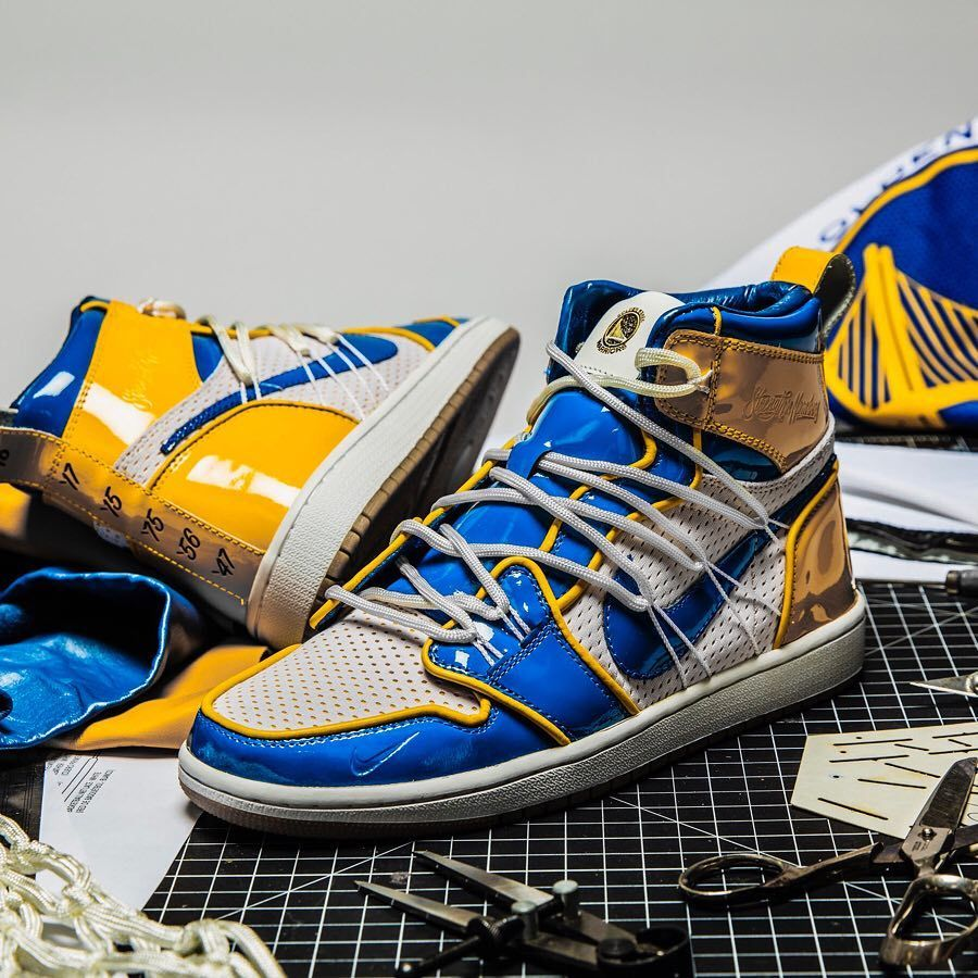04c59ee19f8219 A limited Air Jordan 1 by  theshoesurgeon in cooperation with the Golden  State Warriors 🏀  air  airjordan  aj1  basketball  basketballshoes   grailify ...