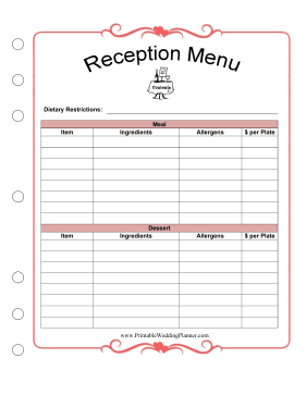 Plan The Menu For A Wedding Reception Including Tary Restrictions With This Planner Template Free To And Print