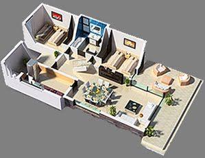 Planos 3d Casa 3 Dormitorios Vivienda Moderna Planos De Casas Gratis Y Departamentos En Venta Planos 3d Planos De Departamentos Pequenos Planos De Casas