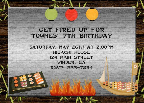 Hibachi Party  Invitation  Any Colors $1050, via Etsy Letu0027s - fresh birthday party invitation ideas wording