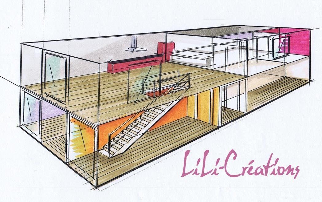 Projection axo int rieur d 39 une maison container the - Maison container interieur ...