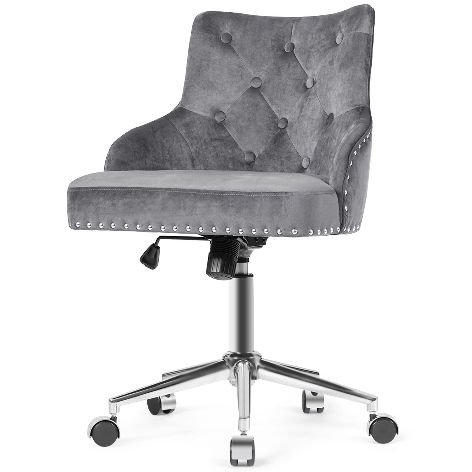 Gymax Velvet Office Chair Tufted Upholstered Swivel