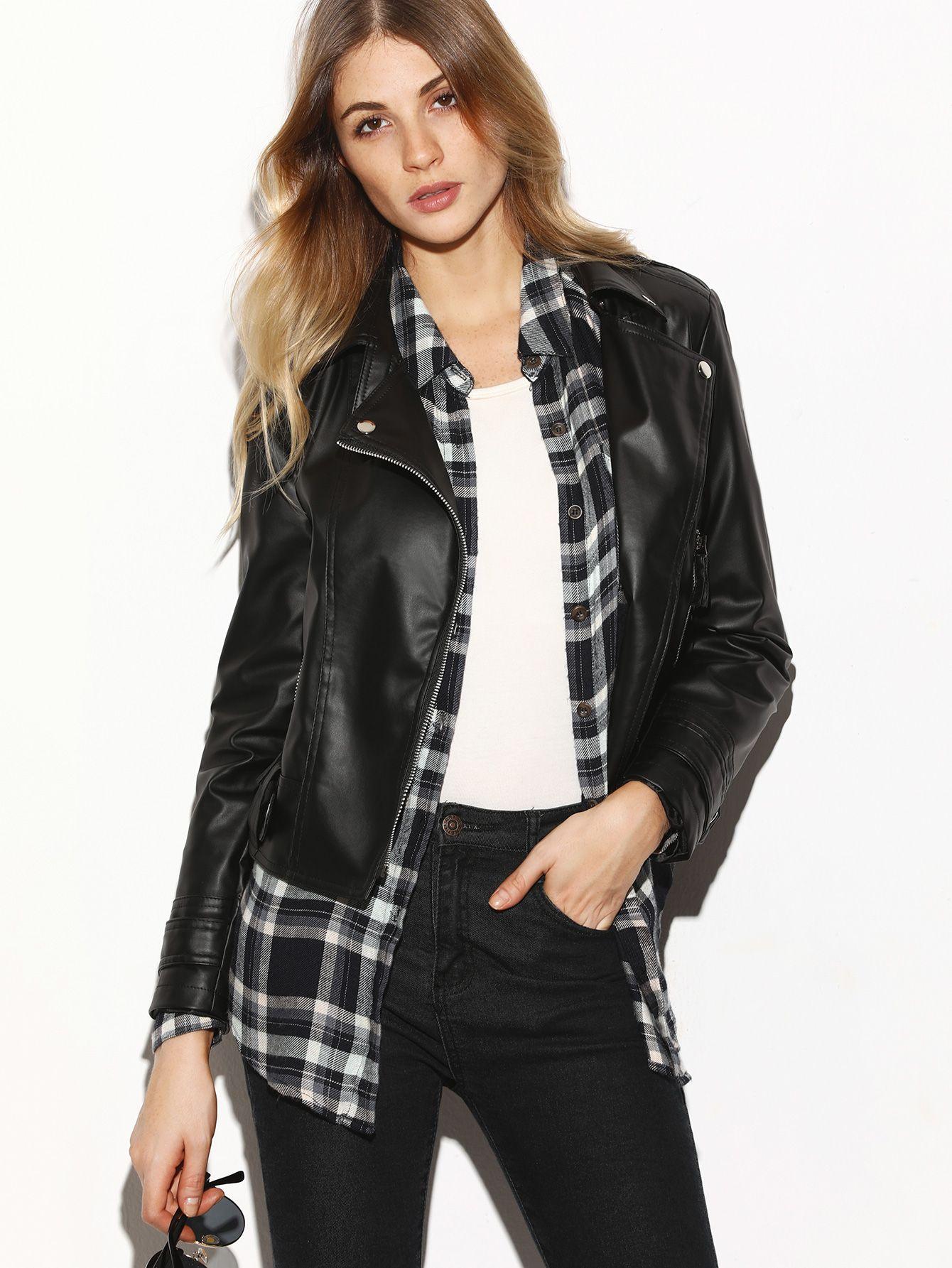 Black Oblique Zipper Faux Leather Jacket (With images