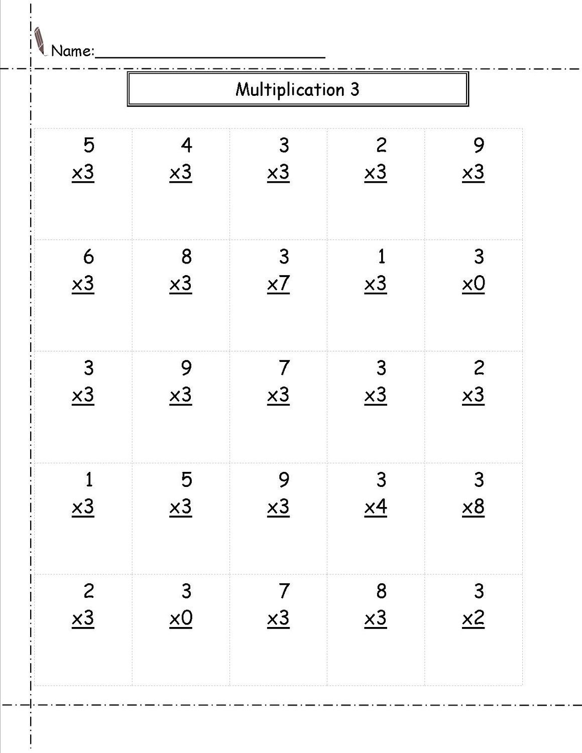 Multiply By 3 Worksheet In