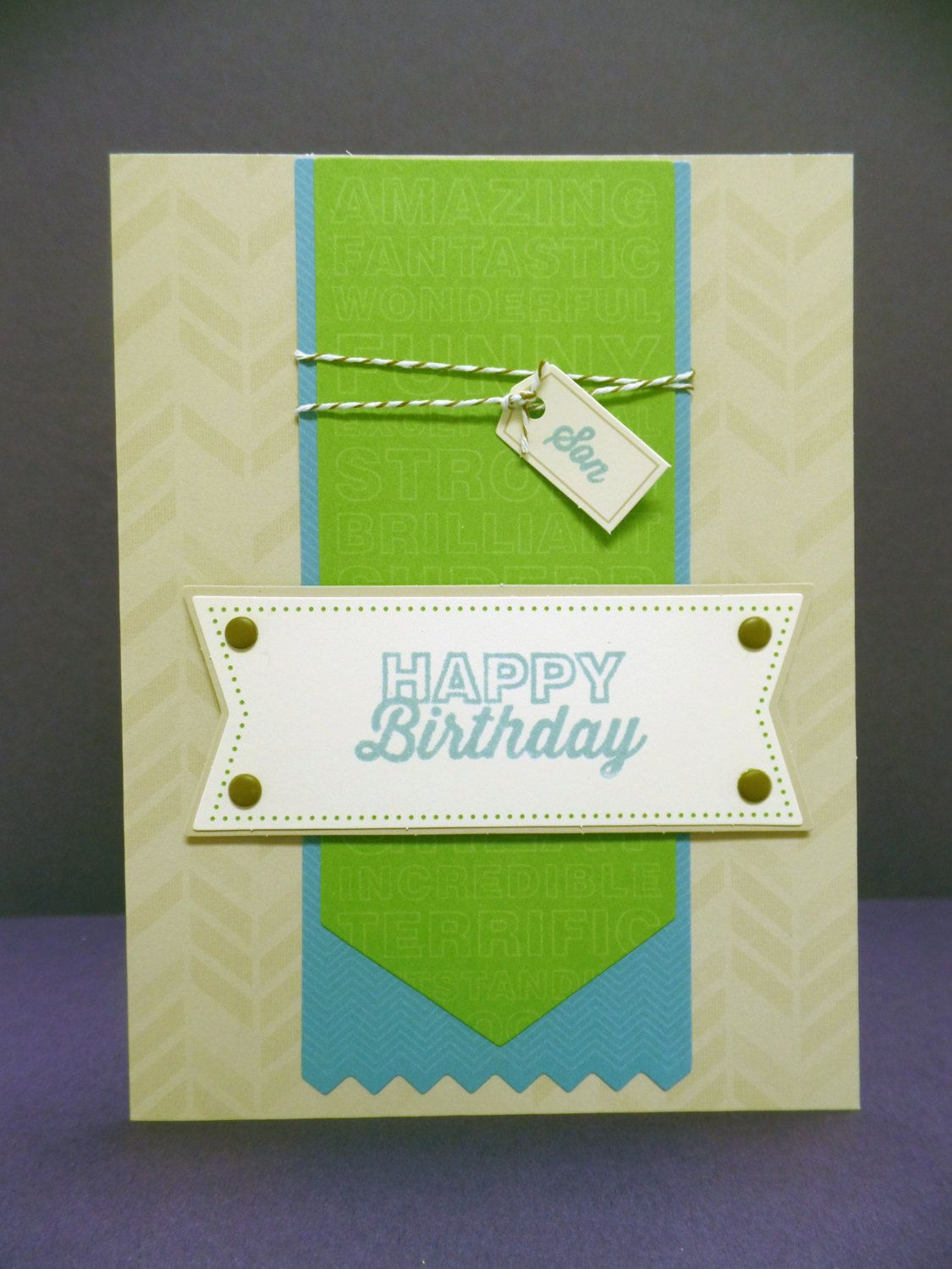 Happy Birthday Son Hand Stamped Card Stampin' Up by