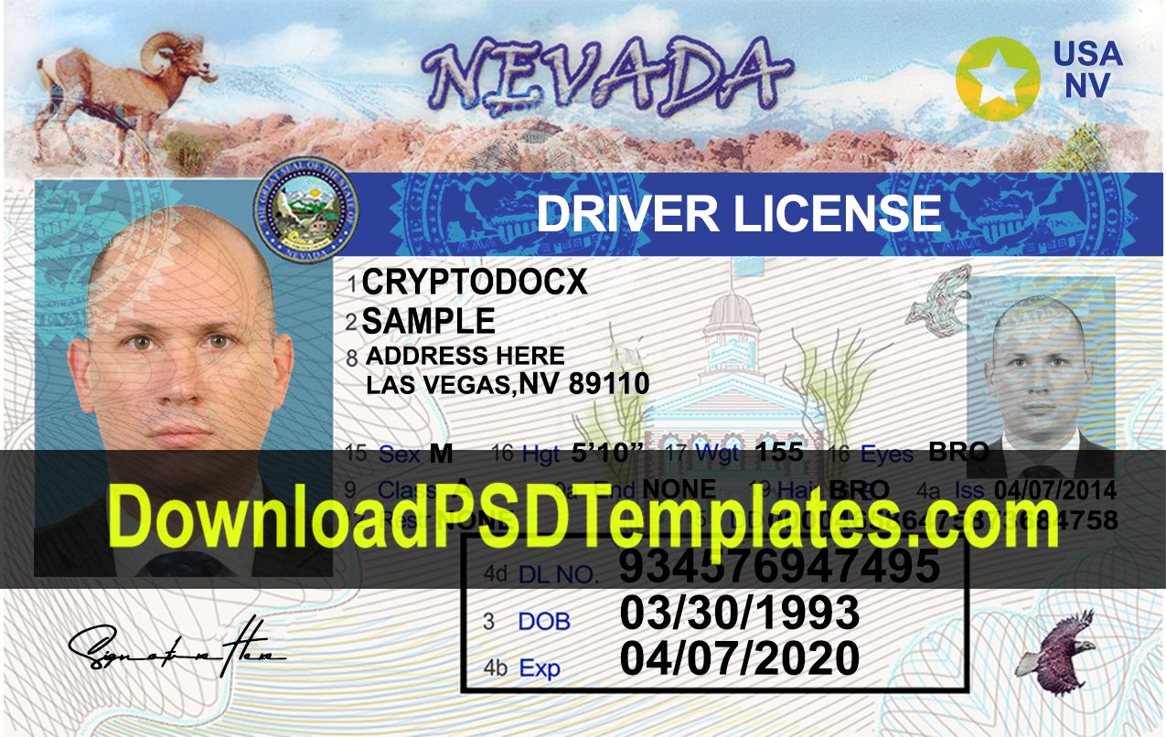 Nevada Driver License Psd Template New Fake Nv Id Driving