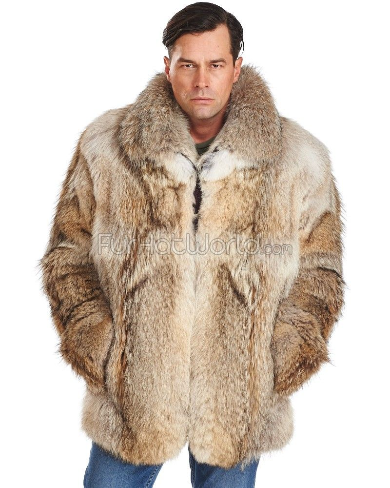 The Hudson Mid Length Coyote Fur Coat for Men | Fur