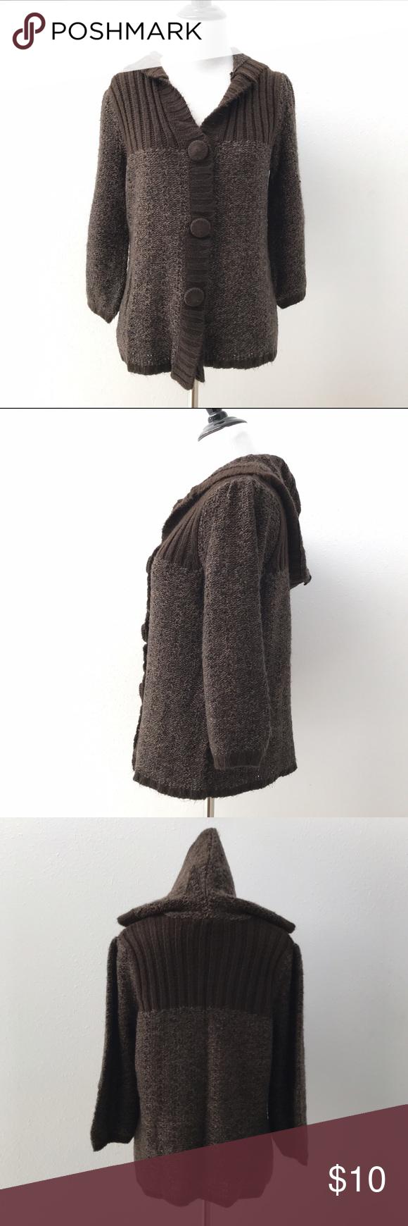 Long sleeve button down sweater Super soft dark brown button down ...