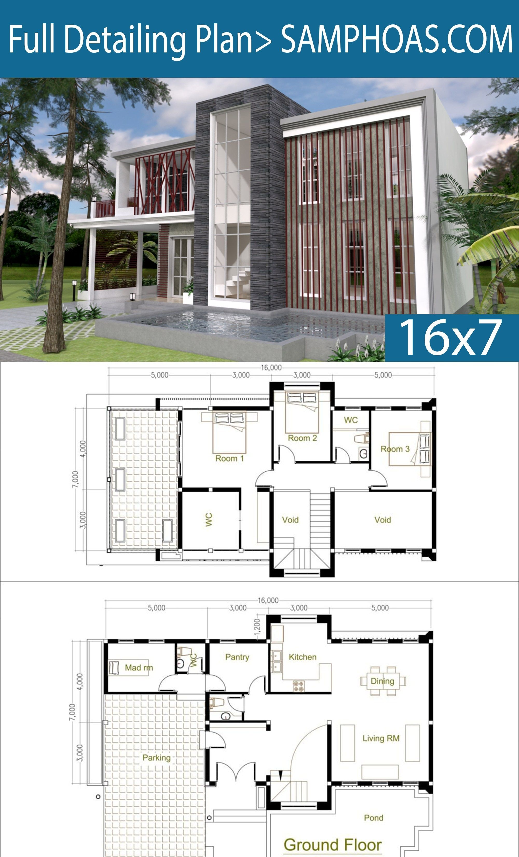3 Bedrooms Modern Home Plan 7x16m Samphoas Plan Big Modern Houses Modern House Floor Plans Modern House Plans