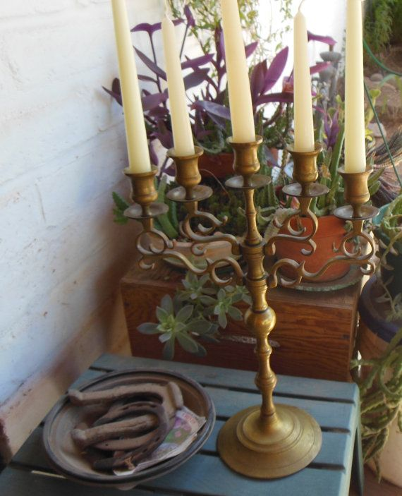 BIG BRASS CANDELABRA 5 Candle Holder Vintage by VintageAndGems, $165.00 - want something like this for my mantel