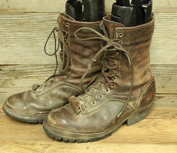 Golden Retriever Mens Brown Leather Packer Logger Work Boots Sz 8