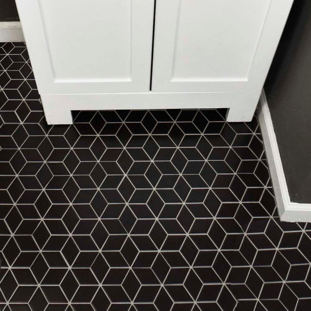 Merola tile metro rhombus matte black 10 1 2 in x 12 1 8 in x 5 mm porcelain mosaic tile matte black low sheen