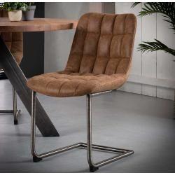 Freischwinger Sessel Aus Recyclingleder Braun Edelstahl 2er Set