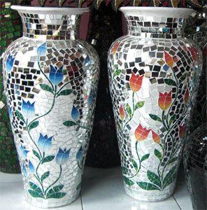 Flower Mosaic Art Mosaic Pottery Vase In Bali Indonesia